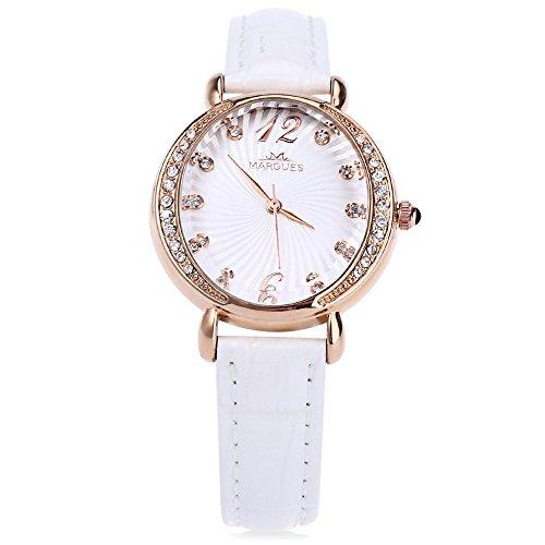 Leopard Shop margues m3017 Frauen Quarzuhr Kuenstliche Diamant Zifferblatt echtes Leder Gurt Armbanduhr Weiss