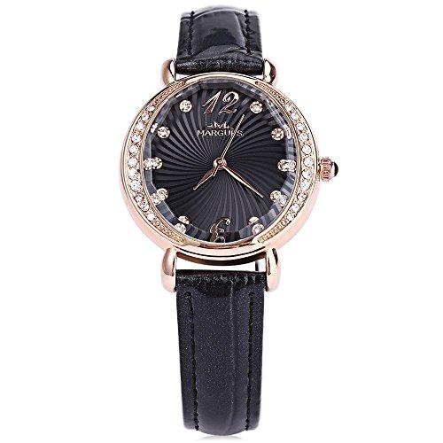 Leopard Shop margues m3017 Frauen Quarzuhr Kuenstliche Diamant Zifferblatt echtes Leder Strap Armbanduhr Schwarz