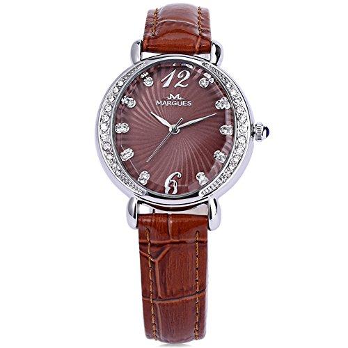 Leopard Shop margues m3017 Frauen Quarzuhr Kuenstliche Diamant Zifferblatt echtes Leder Strap Armbanduhr Braun