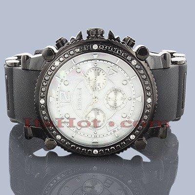 Jojino Anderson Schwarz Dia j 1172 a 49 30 mm Rund Herren Diamant Armbanduhr schwarz