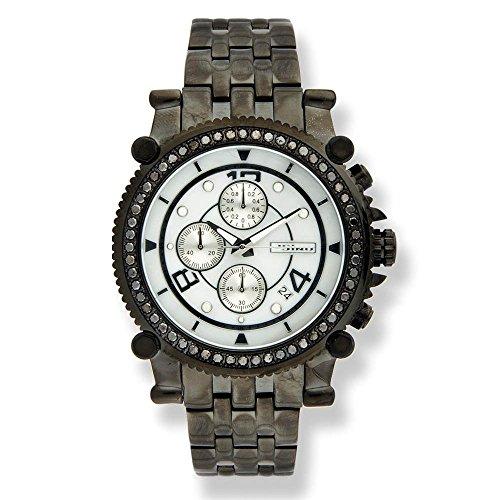 Jojino Anderson Schwarz Dia mj 1172 C 47 90 mm Rund Herren Diamant Armbanduhr schwarz