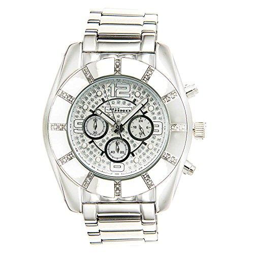 Jojino Royal mj 1216 53 50 mm Rund Herren Diamant Uhr weiss