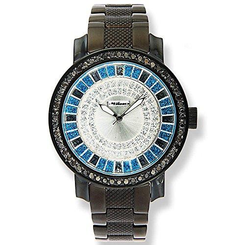 Jojino Togo pj 1038 a 51 25 mm Rund Herren Diamant Armbanduhr schwarz
