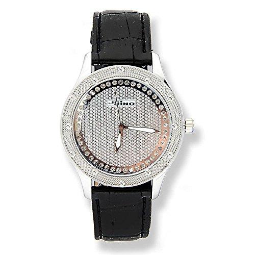 Jojino Virginia mj 1039b 43 50 mm Rund Frau Diamant Armbanduhr weiss