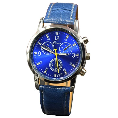 BYD Herren Uhren Watch in PU Leder Blau Analoges Quarzwerk Analog