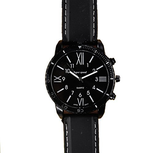 BYD Herren Damen Unisex Uhren Watch in PU Leder Schwarz Analoges Quarzwerk Analog
