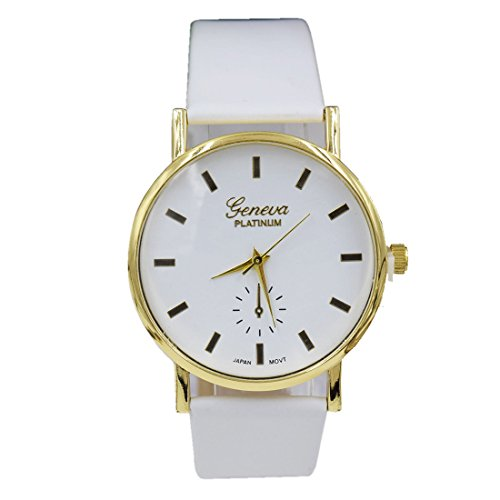 BYD Herren Damen Unisex Uhren Watch in PU Leder Weiss Analoges Quarzwerk Analog