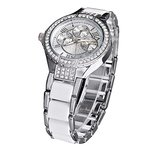 BYD Damen Uhren Watch Rostfreier Stahl Silber Analoges Quarzwerk Analog 3D bling Diamant