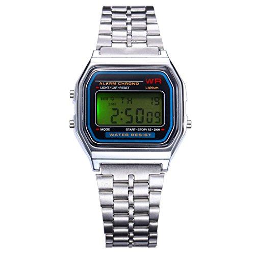 BYD Herren Uhren Watch Rostfreier Stahl Silber Digitals Quarzwerk Digital