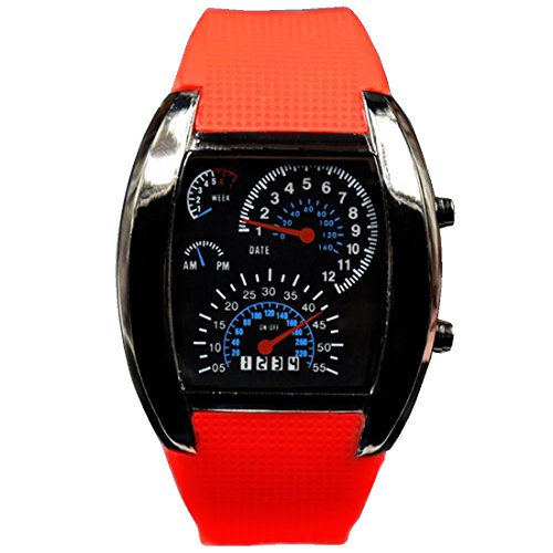 BYD Herren Uhren Watch Silikongel Rot Digitals Quarzwerk Analog Digital