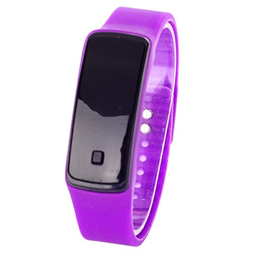 BYD Unisex Damen Herren Uhren Watch Silikongel Violett Digitals Quarzwerk Digital