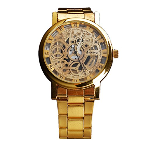 BYD Unisex Damen Herren Uhren Watch Rostfreier Stahl Gold Analoges Quarzwerk Analog