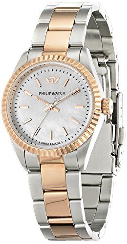 Philip Watch r8253107513 CARIBE Quarz Analog Ziffernblatt Perlmutt Armband Stahl Silber