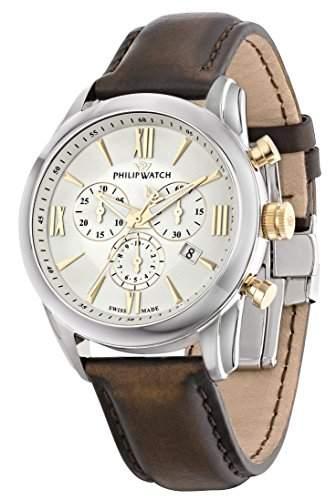 Philip Watch Herren-Armbanduhr SEAHORSE Chronograph Quarz Leder R8271996001