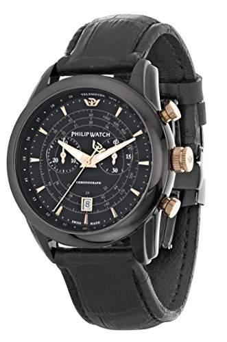Philip Watch Herren-Armbanduhr SEAHORSE Chronograph Quarz Leder R8271996004