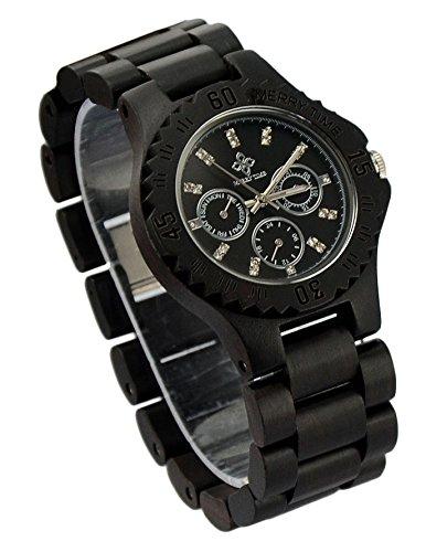 ideashop handgefertigt Herren aus Holz Armbanduhren Armbanduhr Top Marke Luxus Armbanduhr aus mit natuerlichen schwarz Sandelholz Luxus Zifferblatt Datum Kalender und Uhrenbox