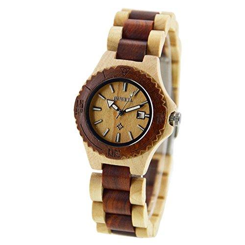 ideashop Fashion Casual handgemachte rot und weiss natur Sandelholz relogio Masculino Datum Kalender Sandale Holz Quarzuhr Armbanduhr Japan Quarz Uhrwerk Geschenk