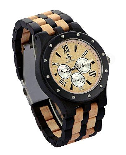 ideashop Datum Zeit Woche 24 Stunden Sandelholz Uhren Armbanduhr Luxus Holz Quarz Einzigartiges Geschenk fuer Herren