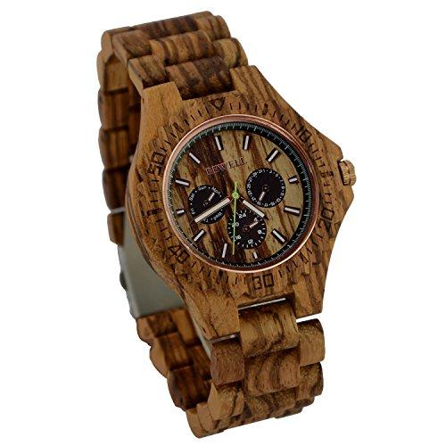 ideashop Herren Holz Uhren Armbanduhr Datum Zeit Woche 24 Stunden Zebrano Holz Quarz mit Nachtsicht