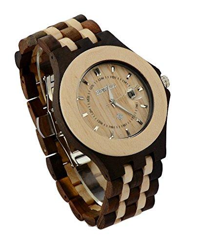 ideashop Herren Ahorn und schwarz Sandale Holz Quarz Armbanduhr Big Analog Armbanduhren mit Datum Kalender luxruy Geschenk