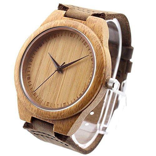 ideashop New vosicar Retro Leder Fashion Bambus Holz Armbanduhr Japan Bewegung Quarz mit echtes Rindsleder Leder Band Casual Uhren Creative Geschenke fuer Herren