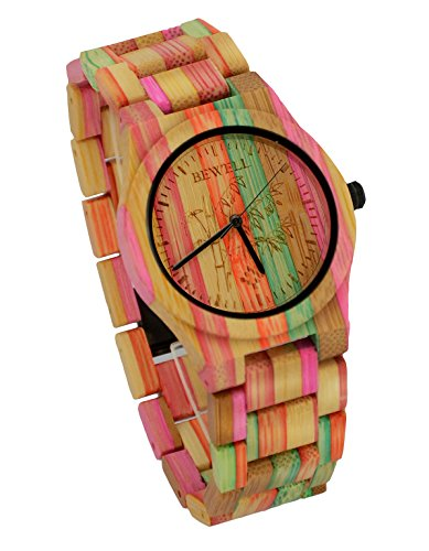 ideashop Herren Armbanduhr Quarz Colorful Bambus Holz Armbanduhr Japan Bewegung Wasserdicht Armbanduhren