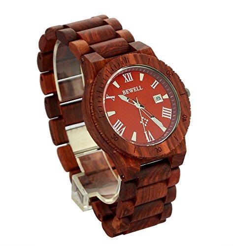 ideashop Herren Rot Holz Uhren Quarz Retro Antik Holz Armbanduhr mit Datum Funktion Einzigartiges Geschenk