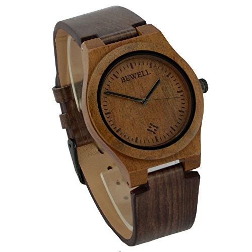 ideashop Herren Quarz Armbanduhr Nachahmung Holz Armbanduhr Wellen Maserung Leder Gurt maennlich Armbanduhr