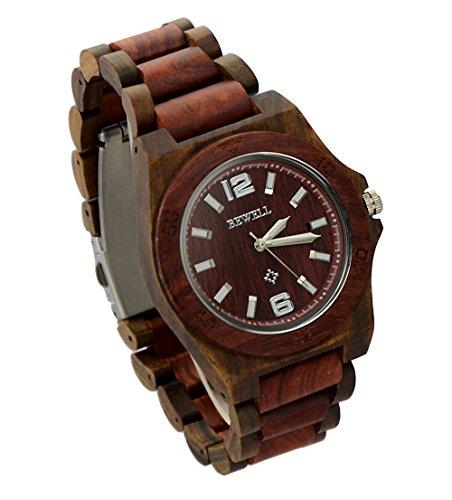 ideashop Herren Armbanduhr Rot und Schwarz natur Sandelholz Armbanduhr Luxus Ziffernblatt Made Quarz Holz einzigartiges Geschenk