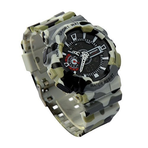 ideashop Herren Armbanduhr Sport Digital LED Dual Time Dive Wasserdichte Sport Fashion Army Camouflage Military Armbanduhren
