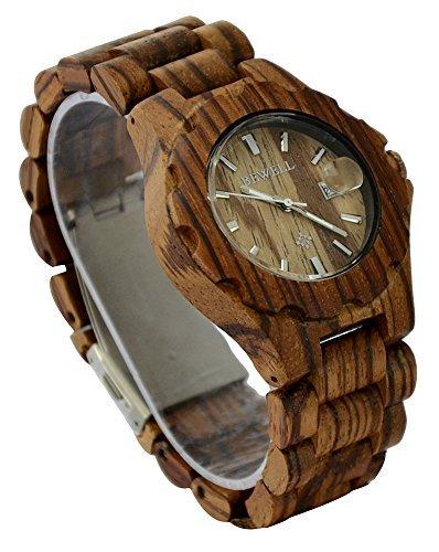 ideashop Neues Design Holz Armbanduhren Auto Datum Holz Armbanduhr verstellbar Holz Band Armbanduhr fuer Geschenk geben Zebra Holz