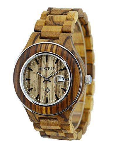 ideashop Herren Zebrano Stahl Ring Fall Armbanduhren Lovers Uhr mit Datum Kalender Einzigartiges Geschenk mit Geschenk Box