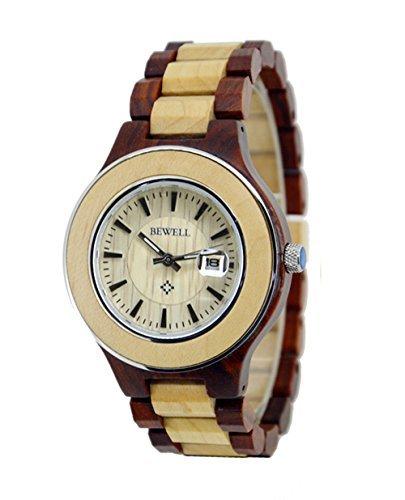 ideashop Herren Holz Uhren Rund Armbanduhren Lovers Uhr mit Datum Kalender Einzigartiges Geschenk mit Geschenk Box