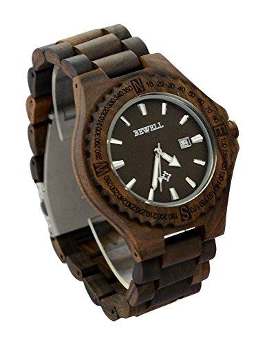 ideashop Holz Armbanduhren verstellbar Quarz Holz Uhren mit Auto Datum Kalender Geschenk Armbanduhr