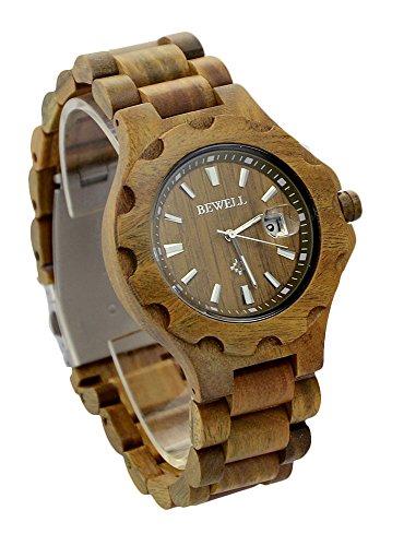 ideashop Herren gruen Holz Armbanduhren mit Datum Kalender verstellbar Holz Band Quarz Uhren fuer Liebhaber Geschenk