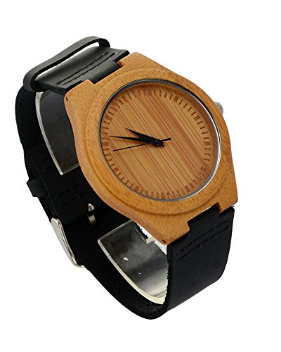 ideashop New Arrival Hot Japan Bewegung Quarz Holz Uhren Creative Geschenke Fashion Bambus Uhr mit echtes Rindsleder Leder Band Casual Uhren fuer Maenner