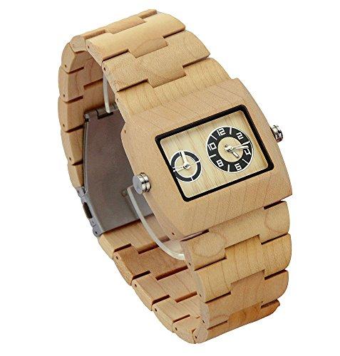 ideashop doppelte Bewegung Quarz Ahornholz Uhren Fashion Armbanduhr Geschenk fuer Herren