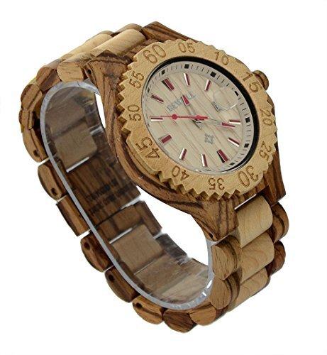 ideashop Hand Drafted Zebra und Ahornholz Uhren rot Nadel mit Datum Kalender fuer Herren Fashion Geschenk