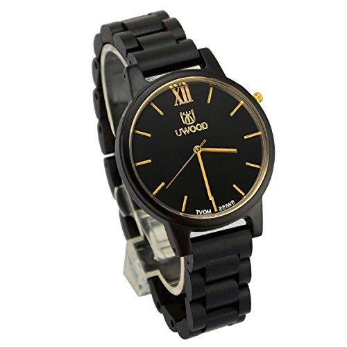 ideashop Ebenholz Sandale Holz Armbanduhr Gold Swiss Bewegung Quarz Armbanduhr Einzigartiges Geschenk fuer Herren