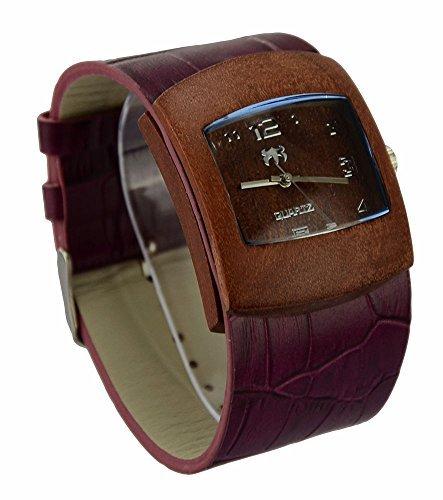ideashop Einzigartiges Geschenk Bambus Holz Uhr mit echtes Rindsleder Leder Band Casual Uhren fuer Mann oder Frauen