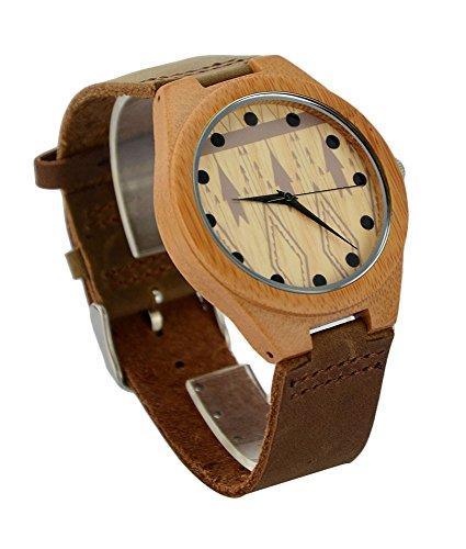 ideashop Herren Fashion Bambus Holz Armbanduhr Leder Band Bambus Fall Uhren Creative Geschenke