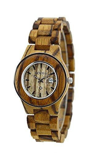 ideashop Fashion Zebrano Edelstahl Ring Fall Uhren Lovers Armbanduhr mit Datum Kalender fuer Frauen