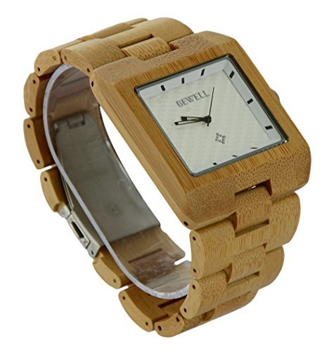 ideashop Fashion Eco Natur Eckig aus Bambus verstellbar Armbanduhr Movt Top Luxus Marke Armbanduhr Geschenk