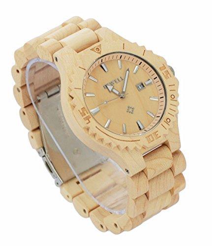 ideashop handcrafte Herren Holz weiss Sandelholz Uhren mit Datum Kalender fuer Einzigartiges Geschenk mit Geschenk Box