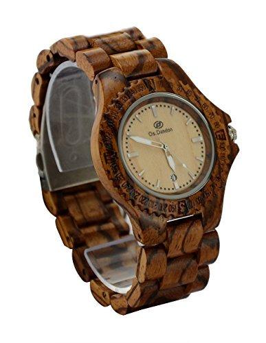 ideashop handgefertigt Zebra Holz Uhren Auto Datum Kalender Quarz Holz Armbanduhr Herren Geschenk Uhren