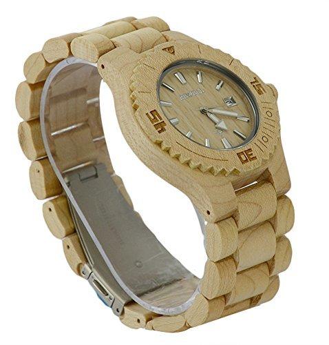 ideashop handgefertigt Ahorn natur Sandelholz Holz Uhren Datum Kalender Quarz Japan Movt Herren hoehenverstellbar Holz Band Armbanduhr Geschenk Watch