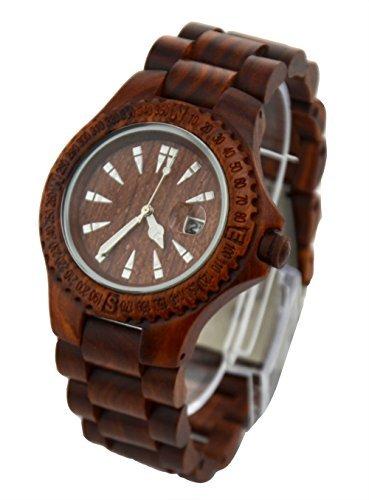 ideashop handgefertigt braun natur Sandelholz Holz Uhren Datum Kalender Sandale Holz Quarzuhr Armbanduhr Japan Movt