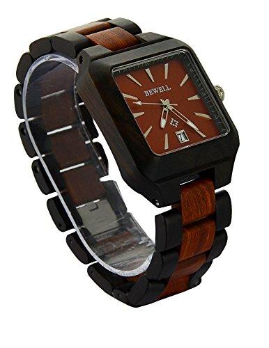 ideashop Fashion handgefertigt verstellbar quadratisch Rot und Schwarz Sandale Holz Armbanduhr Miyota Movt Uhren mit Auto Datum Kalender Funktion Geschenk geben