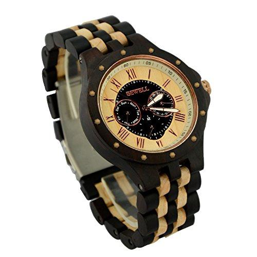 ideashop Herren Datum Zeit Woche 24 Stunden Holz Uhren Armbanduhr Luxus Holz Quarz Night Vision Geschenk Uhren