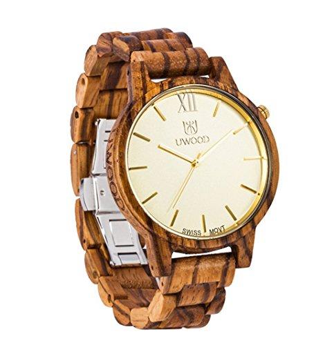 ideashop Herren Holz Armbanduhr Zebra Sandale Holz Armbanduhr Gold Swiss Bewegung
